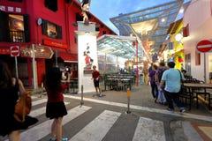 Singapura: Rua do alimento do bairro chinês fotografia de stock