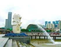 Singapure - 24 décembre 2008 : La fontaine et la Marina Bay de Merlion le matin Photo stock