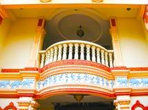 Singapure - 24 December, 2008: Een kleurrijk balkon bij de Woonplaats van Tan Teng Niah, de laatste resterende Chinese villa Royalty-vrije Stock Afbeelding