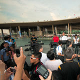 Singapurs Premierminister singt Stockbild