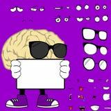Singboard-Gehirnkarikaturhippie-Artausdrücke eingestellt Stockfotografie