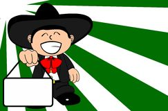 Singboard kid mexican mariachi cartoon expressions background Stock Photos