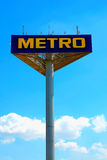 Singboard with logo of the brand Metro stock photo
