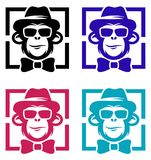 Singe avec le chapeau Logo Design Illustration illustration stock