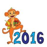 Singe avec un cadeau et des bananes Bonne année 2016 Images libres de droits