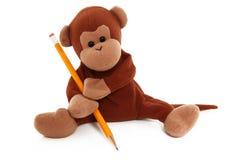 Singe bourré avec le dessin au crayon Photographie stock libre de droits
