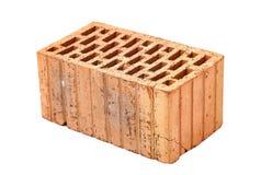 Singe Brick Closeup. Old dirty brick on white background Royalty Free Stock Image