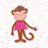 Singe coloré mignon de bande dessinée dans la robe rose Image libre de droits