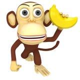 singe 3d drôle avec la banane illustration libre de droits