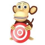 singe 3d drôle avec la cible rouge de but illustration stock