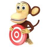 singe 3d drôle avec la cible rouge de but illustration libre de droits