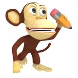 singe 3d drôle avec le crayon illustration de vecteur