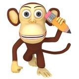 singe 3d drôle avec le crayon illustration libre de droits