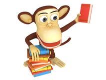 singe 3d mignon avec la pile de livres Image stock