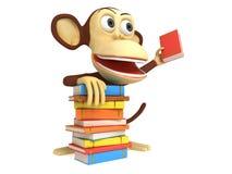 singe 3d mignon avec la pile de livres Photo libre de droits