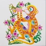 Singe, découpage de papier de couleur. Zodiaque chinois. Photos libres de droits