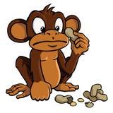 Singe de dessin animé avec des arachides Image libre de droits