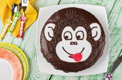 Singe de gâteau de chocolat Images stock
