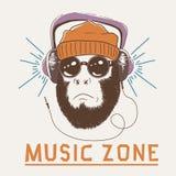 Singe de hippie de fan de musique Photos libres de droits