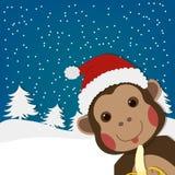 Singe drôle, nouvelle année et carte de voeux de Noël, illustration de personnage de dessin animé Photos stock