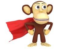 singe du super héros 3d avec des bras sur les hanches Images stock