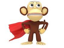 singe du super héros 3d avec des bras sur les hanches Photos libres de droits