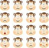Singe mignon avec différentes expressions Image libre de droits