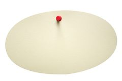 Singe Oval Note w/ Path. A single oval note pined on a white background. File contains clipping path Stock Photo