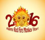 Singe roux du feu en tant que nouveau symbole de 2016 ans Image libre de droits