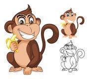 Singe tenant le personnage de dessin animé de banane Image libre de droits
