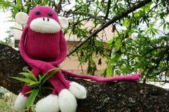 Singe tricoté, symbole 2016, année du singe Photographie stock libre de droits