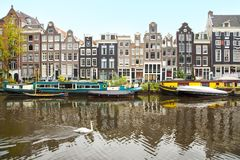 Singel运河,阿姆斯特丹 免版税库存照片