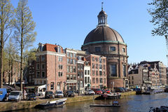 Singel canal in Amsterdam, Netherlands Royalty Free Stock Image