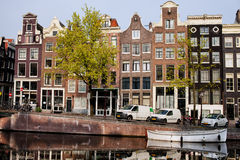 Singel Canal Houses in Amsterdam Royalty Free Stock Images