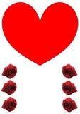 Singel, stor röd hjärta och sex röda rosor Arkivfoto