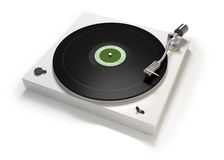 Singel track. Traditional turntable with single track LP disc Stock Photos