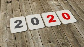 Singelnummer för nytt år 2020 - årsändring - på plattor på ett träområde royaltyfri illustrationer