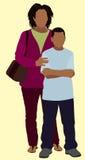 Singelsvartmoder med sonen Fotografering för Bildbyråer