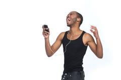Singen Sie mit Kopfhörern stockbilder
