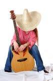 Singencowgirl auf Rest lizenzfreies stockbild