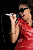 Singer. African american singer with microphone Stock Image