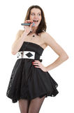 Singer. Young lady singing on white background Royalty Free Stock Photography