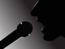 Singer. With microphone closeup royalty free illustration