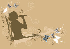 Singer. Grungy illustration of a woman singing Stock Photography