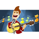 Singer. A delightful singer is singing a song and is playing his guitar Stock Image