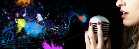 Singer. Beautiful singer with abstract note Royalty Free Stock Image