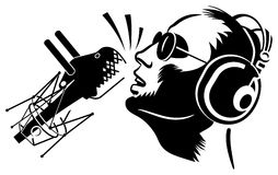 Singer. With microphone black silhouette royalty free illustration
