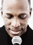 Singer. African american male singer portrait on white background Stock Images