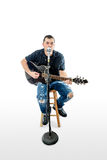 Singer Acoustic Guitarist  on White Looking forward Stock Images