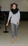 Singer actress Hillary Duff is seen at LAX airport Stock Photos